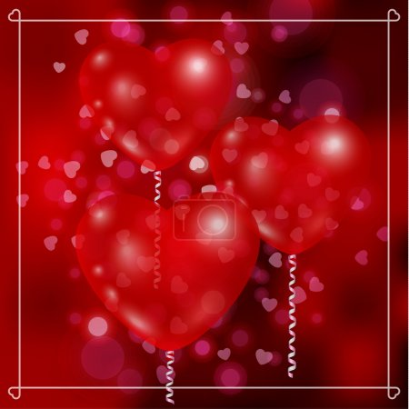 Illustration pour Ballons en forme de cœur sur fond abstrait de taches de lumière multicolores . - image libre de droit