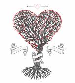 Tree crown in the shape of heart with leafs and ribbons Vector vintage greeting card