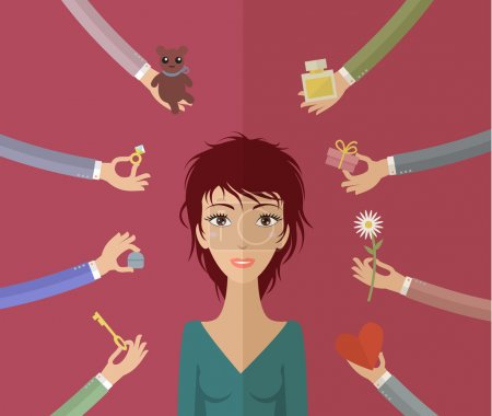 Girl and many hands