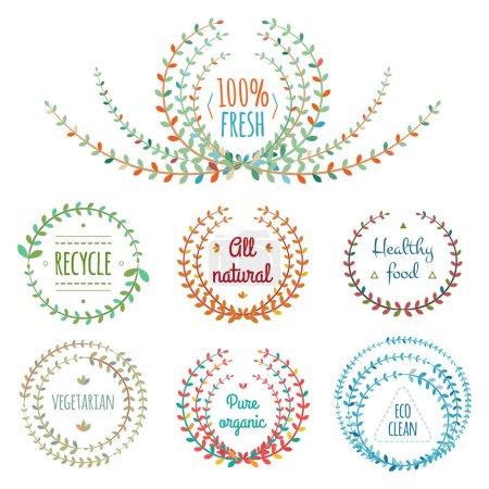 Illustration pour Ensemble d'éléments graphiques floraux symétriques. Étiquettes écologiques . - image libre de droit