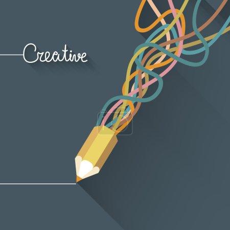 Illustration pour Concept de créativité avec crayon coloré et ligne coloré. Design plat - image libre de droit