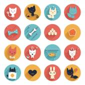 Flat style stylized cute animals avatar vector circle icon set