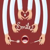 Des Doktors Hände halten Zahnarzt Instrumente