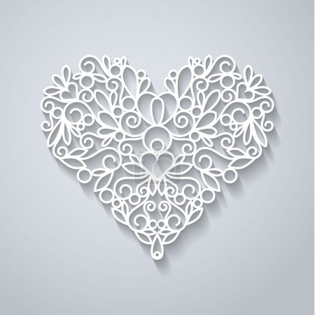 Illustration for Swirly paper heart with shadow on white, vector illustration - Royalty Free Image