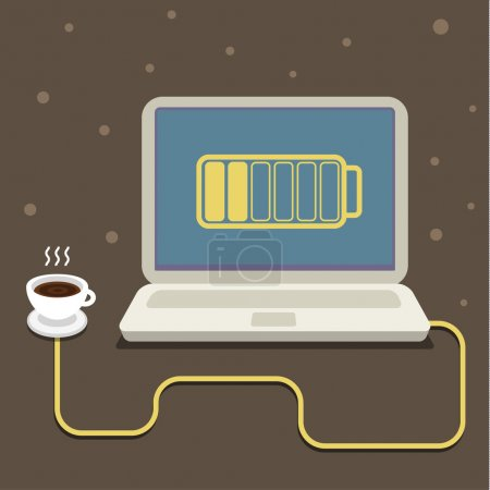 Coffee cup and computer.