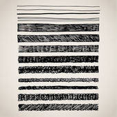 A set of hand drawn lines in black on white Brush stroke pattern card templates