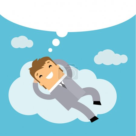 Businessman dreaming on cloud