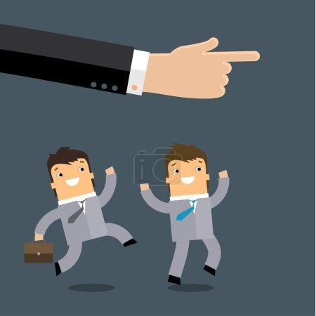 Businessmen running in same direction