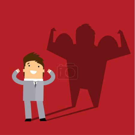 Illustration for Businessman casting a shadow of an athlete - business and career strength concept. Flat design - Royalty Free Image
