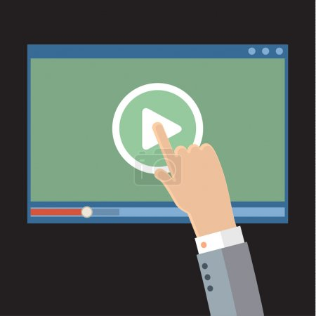 Vector webinar concept in flat style. Video player...