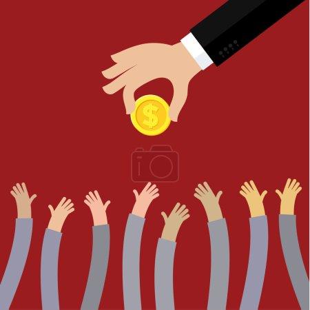 Illustration for Hand of businessman giving money. Flat vector illustration - Royalty Free Image