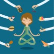 A few hands offers woman a healthy and junk food. ...