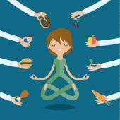 A few hands offers woman a healthy and junk food Flat style vector illustration