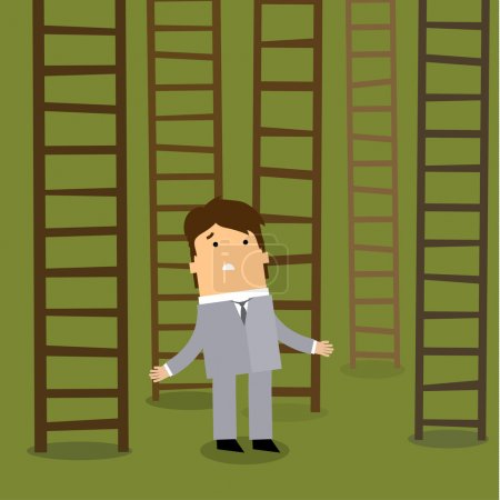 Ladder to success. Business choices concept.