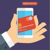 Flat design concepts of internet banking and mobile payments
