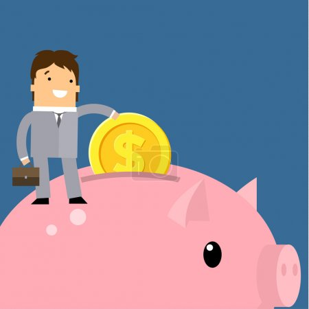 Illustration for Keep money concept. Business man collecting money into piggy bank. Flat vector illustration. - Royalty Free Image