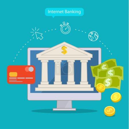 Illustration pour Conception plate concepts de services bancaires sur Internet. Illustration vectorielle - image libre de droit