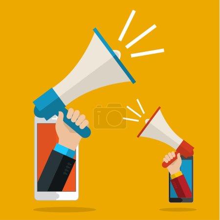 Ilustración de Hombre de negocios sosteniendo en su megáfono de la mano. Concepto de negocio de ilustración vectorial de diseño plano de marketing digital. - Imagen libre de derechos