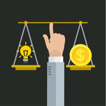Illustration for Balancing between money and idea. Flat vector illustration - Royalty Free Image