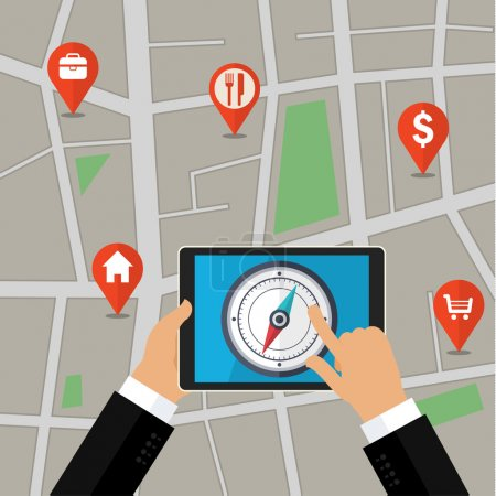 Illustration for Vector mobile phone with compass on screen. Gps concept in flat style - Royalty Free Image
