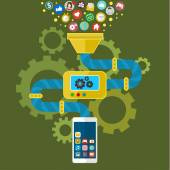 App development for mobile phone Programming and creating application Vector infographics in flat style
