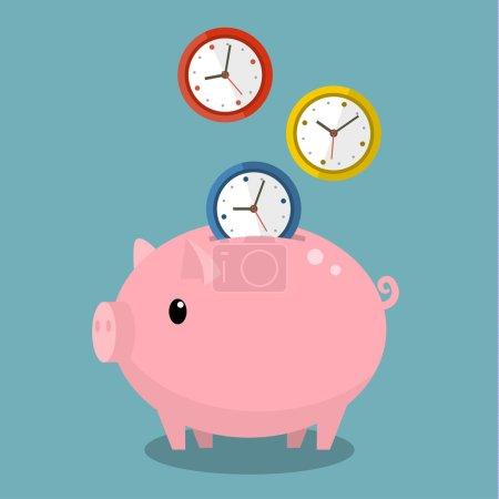 Illustration pour Le temps c'est de l'argent. Tirelire avec montres. Illustration vectorielle design plat . - image libre de droit