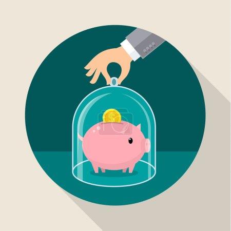 Illustration pour Concept pour économiser de l'argent, des entreprises de confiance et des services financiers. Illustration vectorielle design plat - image libre de droit