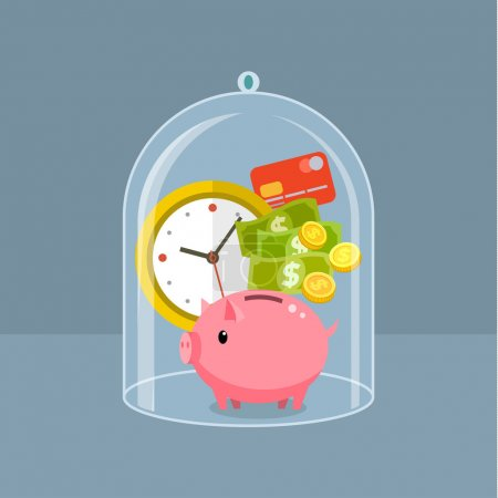 Illustration for Concept for saving time and money, trustworthy business and financial services. Flat design vector illustration - Royalty Free Image