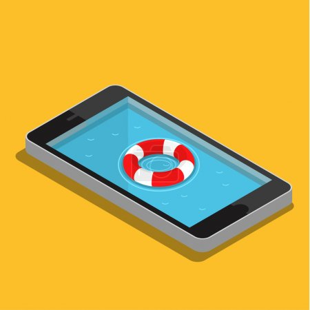 Illustration pour Concept de service d'urgence mobile. Illustration vectorielle de style plat - image libre de droit
