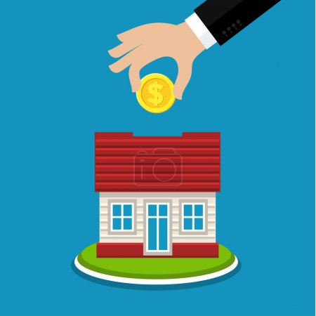 Illustration for Piggy bank in the shape of a house. Concept of save and invest money. Flat design - Royalty Free Image
