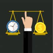 Abstract flat vector illustration of time is money concept Elements for mobile and web applications