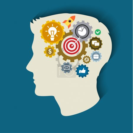 Illustration for Human head with gears and icons. Concept of thinking. Flat illustration. - Royalty Free Image