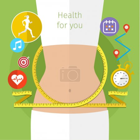 Illustration for Concept for keeping fit, weight loss, fitness, dieting, nutrition regime, healthy lifestyle. Flat design colorful vector illustration - Royalty Free Image