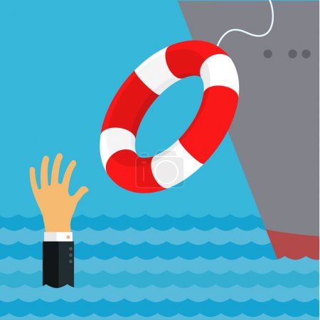 Illustration for Helping Business survive, representing drowning businessman getting lifebuoy from big ship for help, support, and survival. - Royalty Free Image