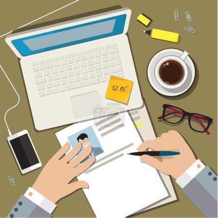 Ilustración de Writing a business cv resume concept. Flat design vector illustration - Imagen libre de derechos