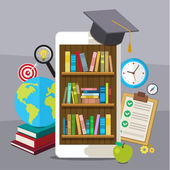 Concept of education Smartphone with graduation hat and bookcase on screen Flat design