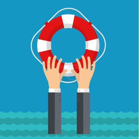 Illustration for Flat background with hand and lifebuoy. Technical support concept. Online help. - Royalty Free Image