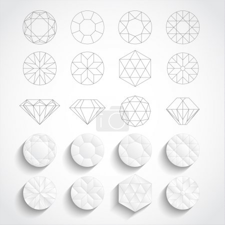 Set of diamond design elements