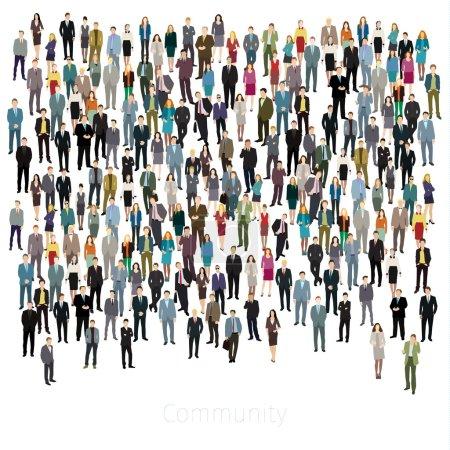 Illustration pour Concept de style de vie urbain. Un grand groupe de personnes. Design plat. Fond vectoriel - image libre de droit