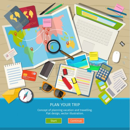 Illustration for Concept of planning vacation and trip. Top view. Colorful travel vector flat banner for your business, websites etc. - Royalty Free Image