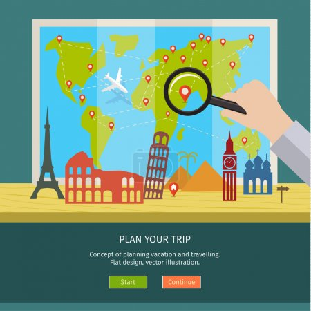Illustration for Concept of planning vacation. Colorful travel vector flat banner for your business, websites etc. - Royalty Free Image