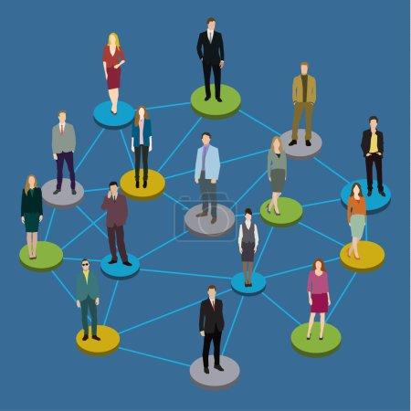 Illustration pour Concept de réseau social. Illustration des membres de la société avec des hommes et des femmes. Illustration vectorielle design plat - image libre de droit