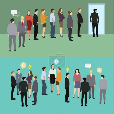 Illustration for Business people standing in a line. Flat design, vector illustration - Royalty Free Image