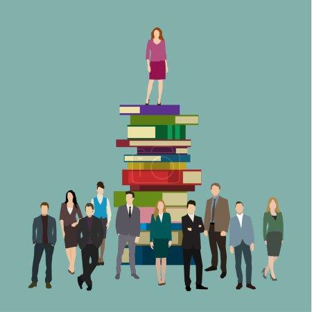 Illustration pour Concept de succès. Femme d'affaires dans les livres. Conception plate, illustration vectorielle - image libre de droit