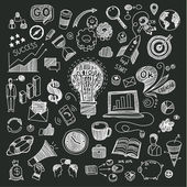 Business doodles on a blackboard Concept of idea Vector illustration