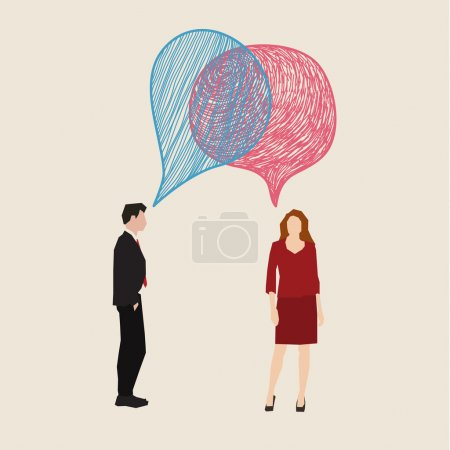 Woman and man with speech bubbles