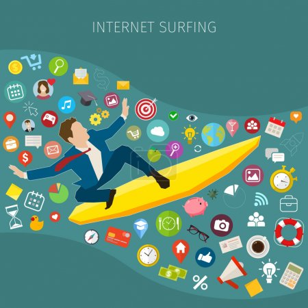 Illustration pour Surfer rapidement sur Internet mobile. Homme d'affaires sur planche de surf. Conception plate, illustration vectorielle - image libre de droit