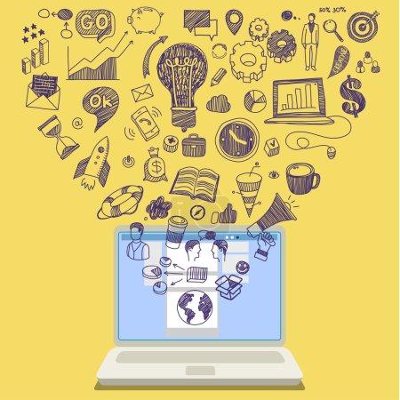Photo pour Concept d'éducation en ligne. E-learning science avec ordinateur portable - image libre de droit