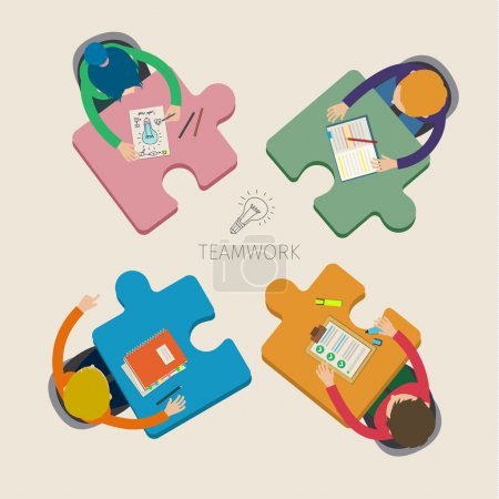 Illustration for Concept of creative teamwork. Business meeting and brainstorming - Royalty Free Image