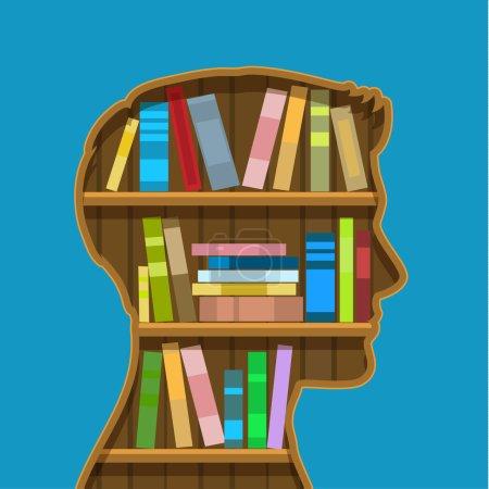 Book shelf in form of head.